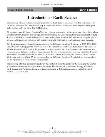 earth science test questions Taks grade 10 science (2006) - [interactive exam] read the question and  for  use in earth science, chemistry, and physics [lots of good information there].