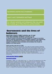 ResourceLink Resources for Sacraments and the lives of believers