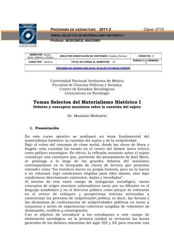 Temas Selectos del Materialismo Histórico I - Centro de Estudios ...