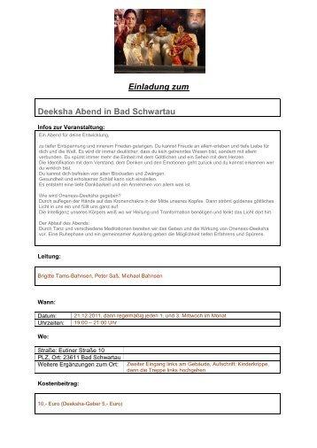Einladung zum Deeksha Abend in Bad Schwartau - Oneness 24