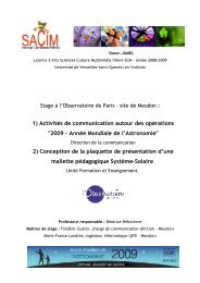 2009 – Année Mondiale de l'Astronomie - Formation et ...