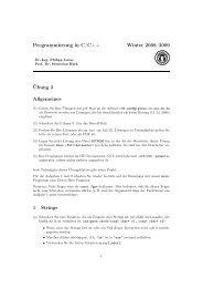 Programmierung in C/C++ Winter 2008/2009 Übung 3 Allgemeines ...