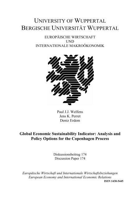 UNIVERSITY OF WUPPERTAL BERGISCHE UNIVERSITÄT ... - EIIW