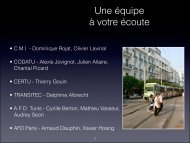 Journées tunisiennes du transport urbain - 11/13 décembre ... - CMI