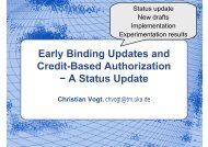 Early Binding Updates and Credit-Based Authorization − A Status ...