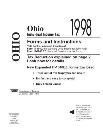It 1040 Ez Ohio Income Tax Return 2000 Ohio Department Of