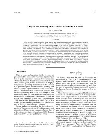 Analysis and Modeling of the Natural Variability of Climate