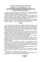 Republic of Albania, Ministry of Education DECREE No19 OF ...