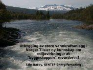 Utbygging av store vannkraftanlegg i Norge: Tilsier ny kunnskap om ...
