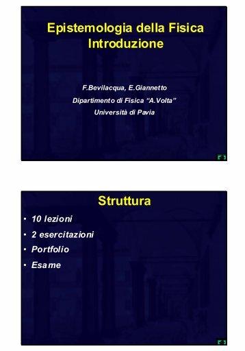 Introduzione - Pavia Project Physics