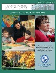 Special Education Catalog - graduate studies at assumption college