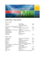 Aktuelle Playlist – Freitag, 16.09.2011 - Radio Regenbogen