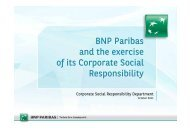 BNP Paribas and the exercise of its Corporate Social Responsibility