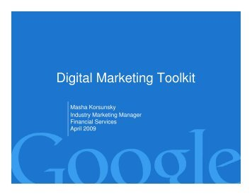 Digital Marketing Toolkit - Target Markets