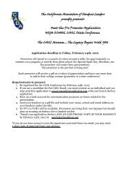 The California Association of Student Leaders proudly ... - CADA