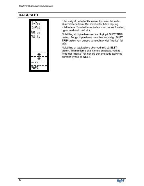 betjeningsvejledning for teejet 965 mejetærskercomputer
