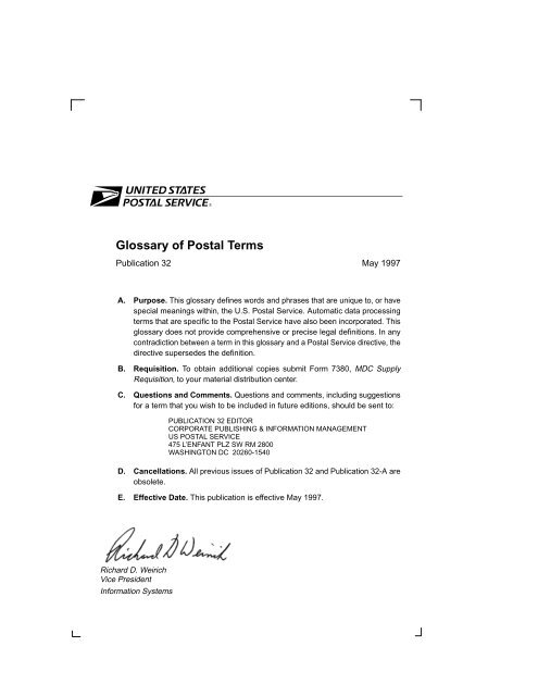 Publication 32 Glossary Of Postal Terms Campus Life Services