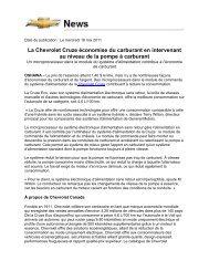 La Chevrolet Cruze économise du carburant en ... - Opel Media