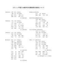 委員名簿 - 日本数学会