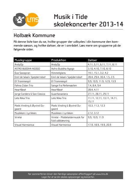 Holbæk Kommune - Levende Musik i Skolen