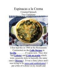 Espinacas a la Crema - The Geriatric Gourmet