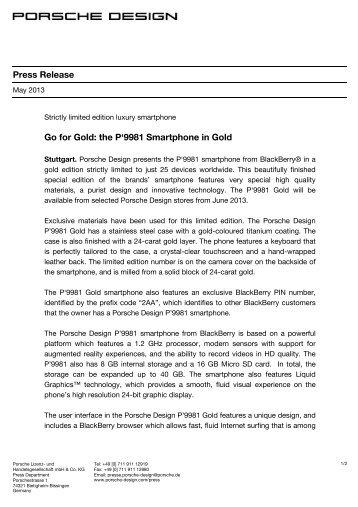 Press Release Go for Gold: the P'9981 ... - Porsche Design