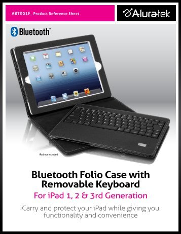 Bluetooth Folio Case with Removable Keyboard - Aluratek