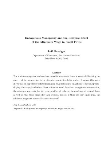 Endogenous Monopsony and the Perverse Effect of the Minimum ...