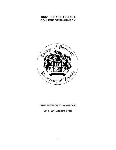 Student-Faculty Handbook - College of Pharmacy - University of ...