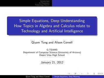 Simple Equations, Deep Understanding How Topics in Algebra and ...