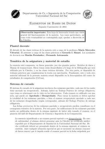 Elementos de Bases de Datos - Departamento de Ciencias e ...