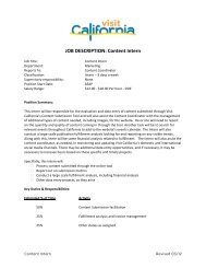 Content Intern - the California Tourism Industry Website