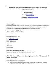 PHA 5104 Syllabus.pdf - College of Pharmacy