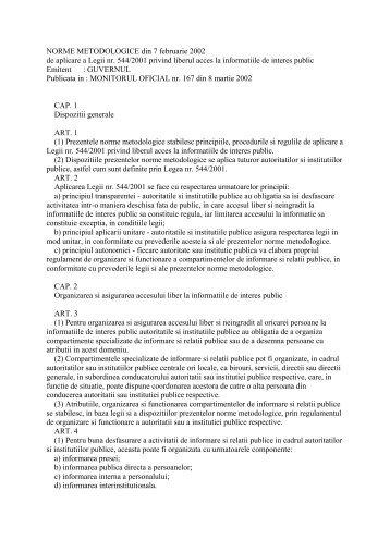 NORME METODOLOGICE din 7 februarie 2002 de aplicare a ... - tvr.ro