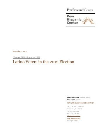 Latino Voters in the 2012 Election