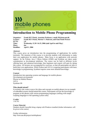 Introduction to Mobile Phone Programming - Mobile Devices