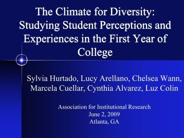 The Climate for Diversity - Higher Education Research Institute - UCLA