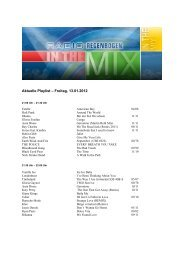 Aktuelle Playlist – Freitag, 13.01.2012