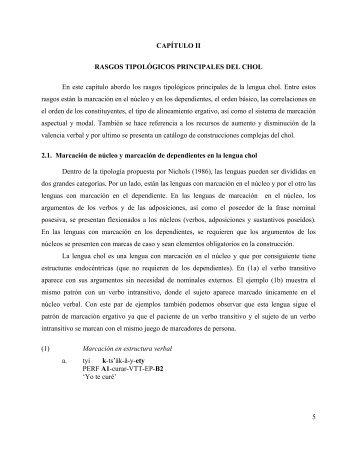 III RASGOS GENERALES DEL PREDICADO CHOL