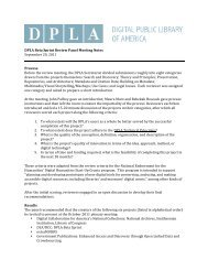 DPLA Beta Sprint Review Panel Meeting Notes September 20, 2011