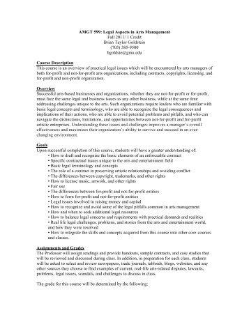 AMGT 599 (legal)- Syllabus - Fall 2011 - Arts Management - George ...