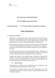 Tender Specifications - European Institute of Innovation and ...