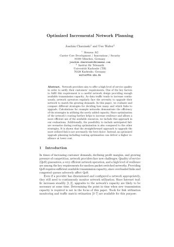 Optimized Incremental Network Planning - CiteSeerX