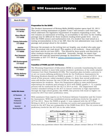 Volume 1 Issue 11 - Wyoming Department of Education