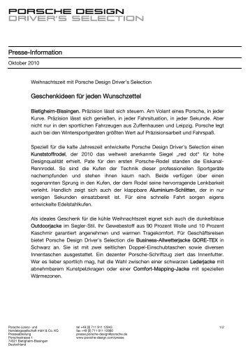 Presse-Information Geschenkideen für jeden ... - Porsche Design