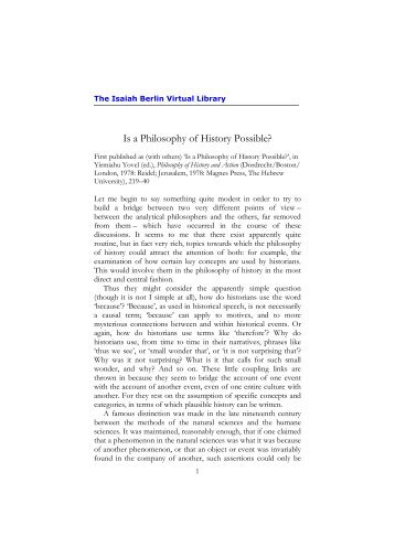 Is a Philosophy of History Possible? - Isaiah Berlin Virtual Library.