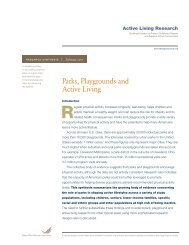 Parks, Playgrounds and Active Living Research Synthesis