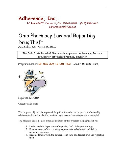 Ohio Pharmacy Law and Reporting Drug Theft - Fuse net