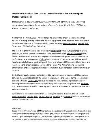 OpticsPlanet partners with New Brand GSM - OpticsPlanet.com