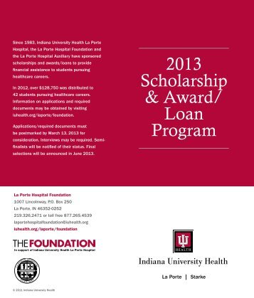 2013 Scholarship & Award/ Loan Program - La Porte - IU Health